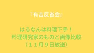 『有吉反省会』飯窪春菜(はるなん)は料理下手!料理研究家のものと画像比較(11月9日放送)