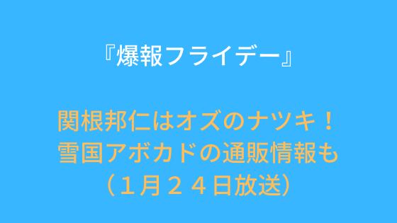 『爆報フライデー』関根邦仁はオズのナツキ!雪国アボカドの通販情報も(1月24日放送)